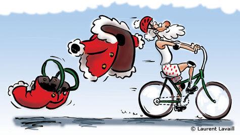 Père Noël à vélo